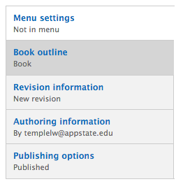 Book outline menu