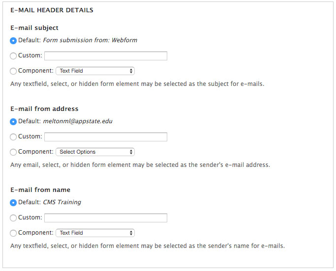 E-mail header details for component