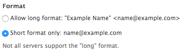 E-mail format field