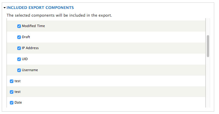 Included export components screen