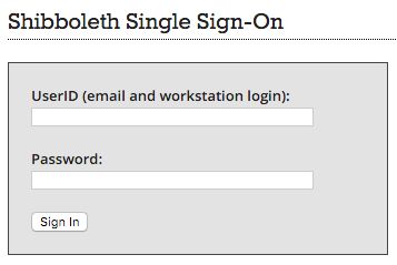 Shibboleth sign on page