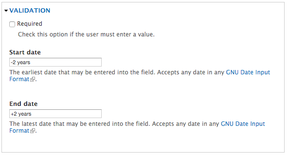 Date validation field