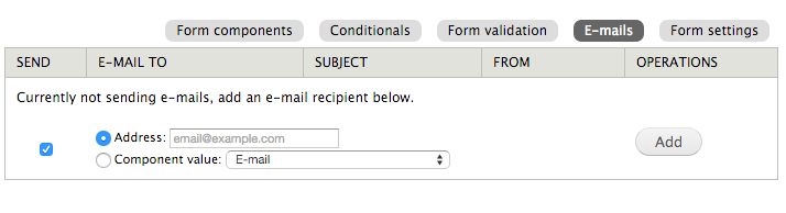Add email address window
