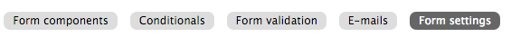 Webform form settings menu